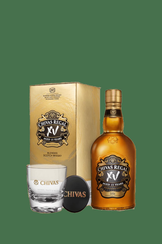 Chivas Regal XV Scotch Whisky  (con bicchiere e sottobicchiere)