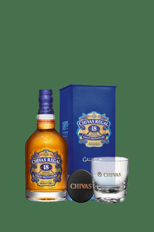 Chivas Regal 18 Scotch Whisky (con bicchiere e sottobicchiere)