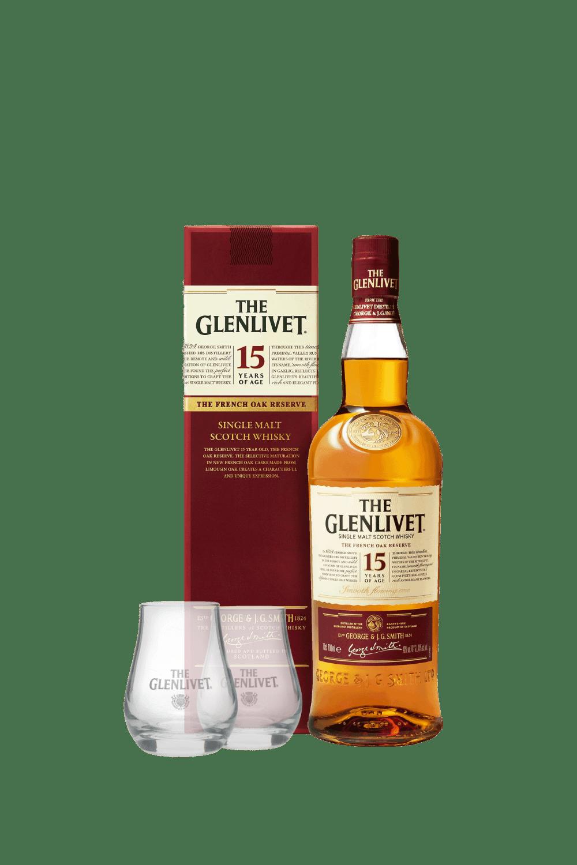 The Glenlivet 15 Single Malt Scotch Whisky (con 2 bicchieri Glenlivet)