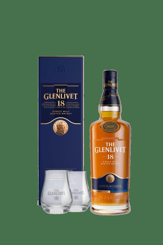 The Glenlivet 18 Single Malt Scotch Whisky (con 2 bicchieri Glenlivet)