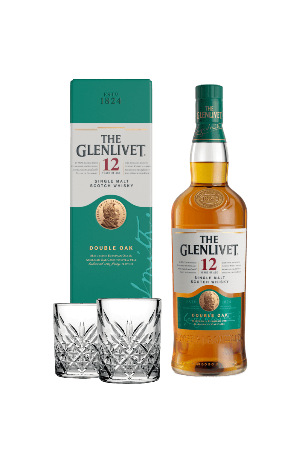 The Glenlivet 12 Single Malt Scotch Whisky (con 2 tumbler vintage)