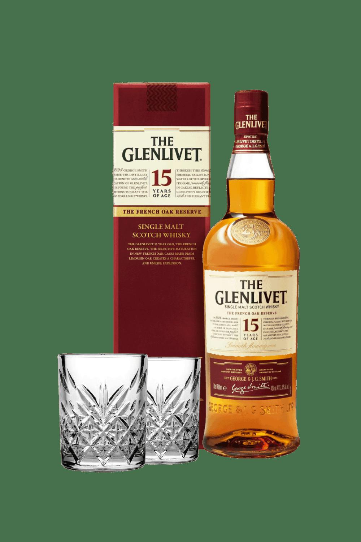The Glenlivet 15 Single Malt Scotch Whisky (con 2 tumbler vintage)